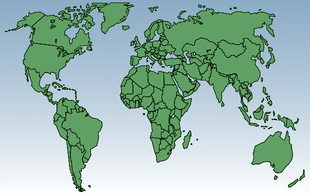 Political green blue-white world map A4 | Free world maps