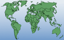 Link to the political free world map with white-blue gradient
