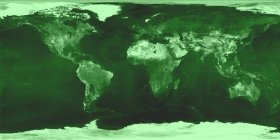 A physical world map, with only green-tone colors