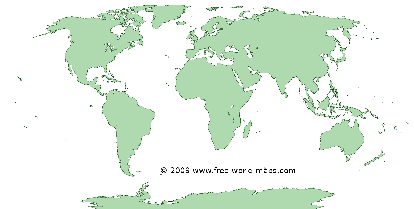 Printable green-transparent blank outline world map C4 | Free world maps